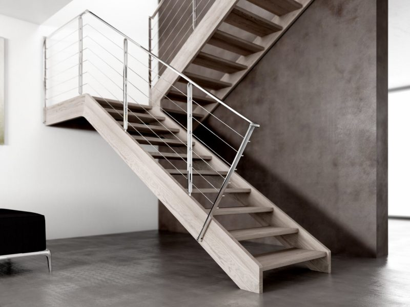 Wooden Staircase Jamar Lumber 2R-GLE, Stainless steel Railing.