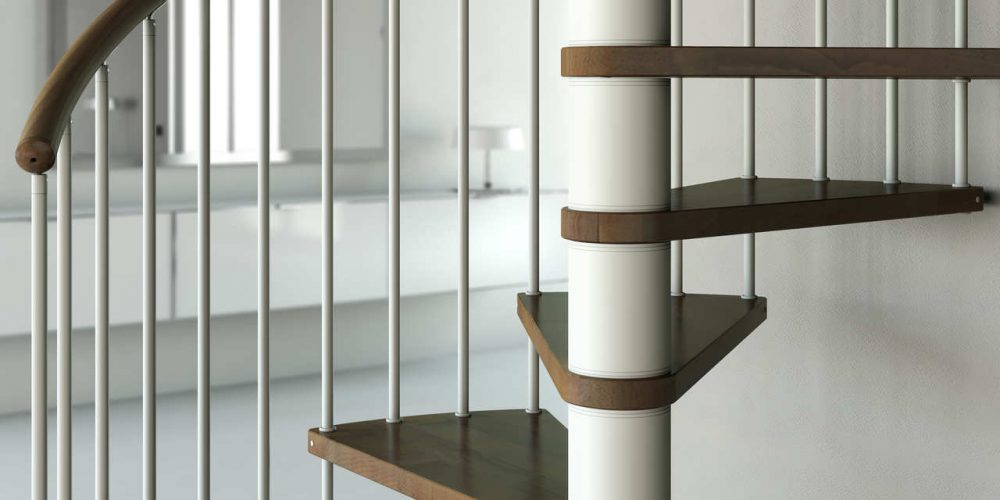 Steel staircase made of steel structure wooden steps steel railing combined with a touch of stainless steel and wooden grabrail.