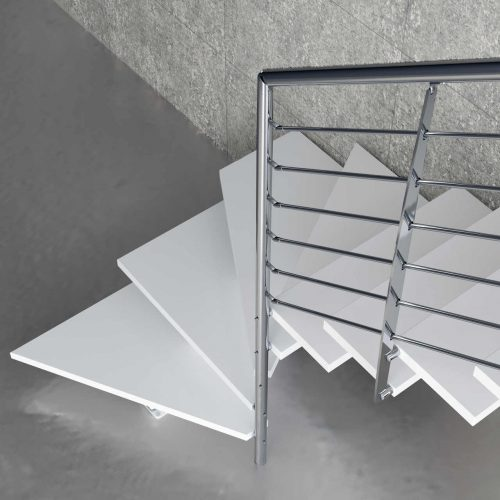 Mono Stringer Staircase Made of wooden Structure, Wooden Steps, Stainless steel Railing, and Stainless steel Grab rail.