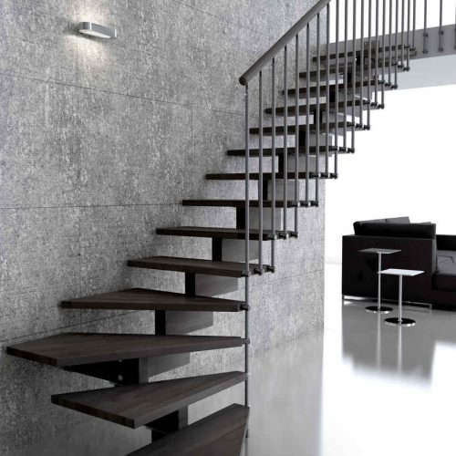 Modern Mono stringer staircase, wooden structure, wooden steps, steel railing, combined with wooden grab rail.