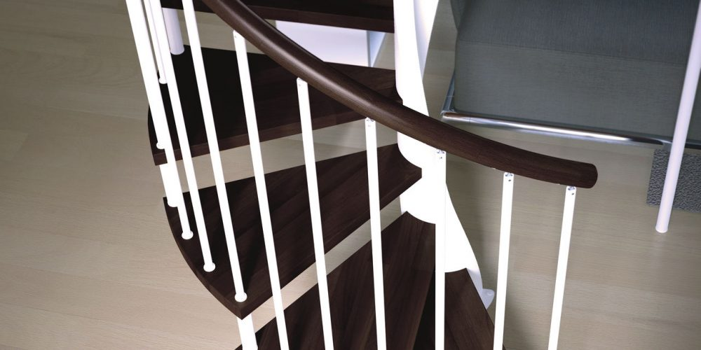Spiral staircases Jamar Tendrillar T-GLE, steel structure, wooden timber steps, steel railing, wooden grab rail.
