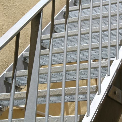 Galvanized stairs, Galvanized Railing, Mesh Steps non slip.