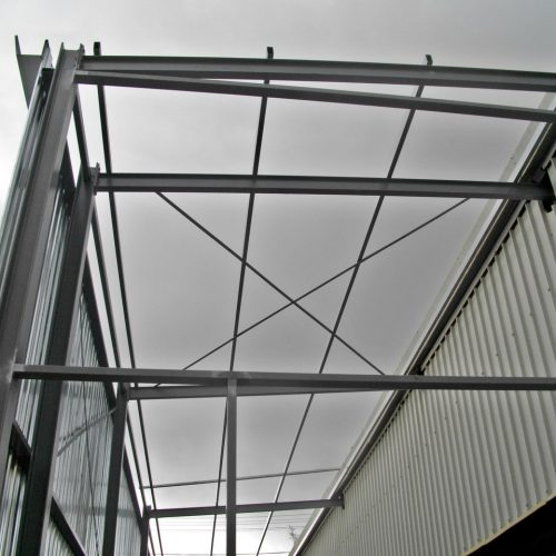 Steel Structure, Steel Elements, Steel Sections, Galvanized corrugated sheeting, steel shed.