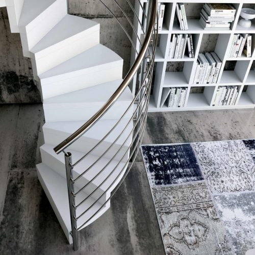 Spiral Staircase Jamar Stream E-GLE, Wooden spiral staircase, stainless steel railing.