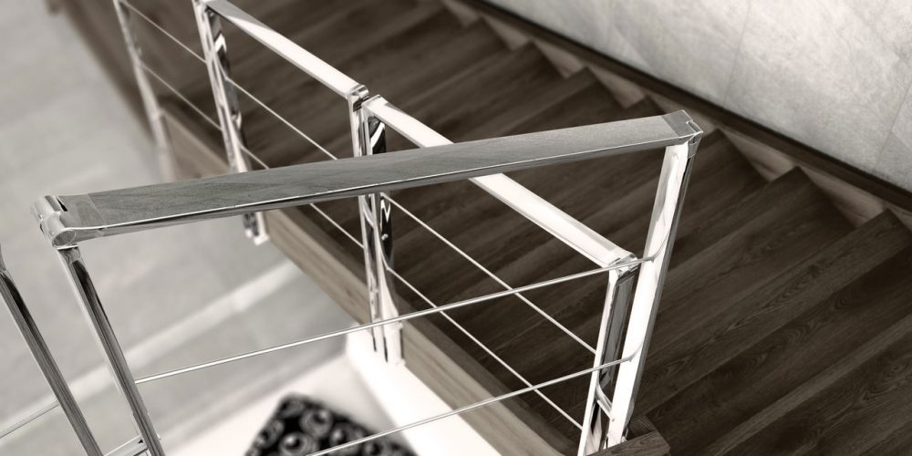 Wooden staircase, stainless steel railing
