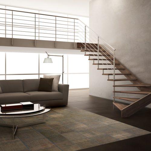 Wooden staircase Jamar Lumber JR5, Stainless steel Railing Malta,