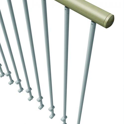 Steel Railing, Wooden Grab rail.