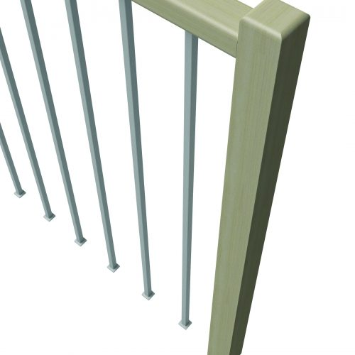 Wooden Railing, Steel or wood infills, steel or wooden grab rail.