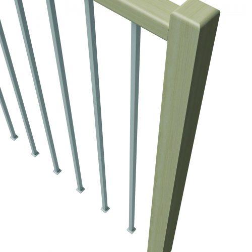 Wooden Railing, Steel or wood infills, steel or wooden grab rail.