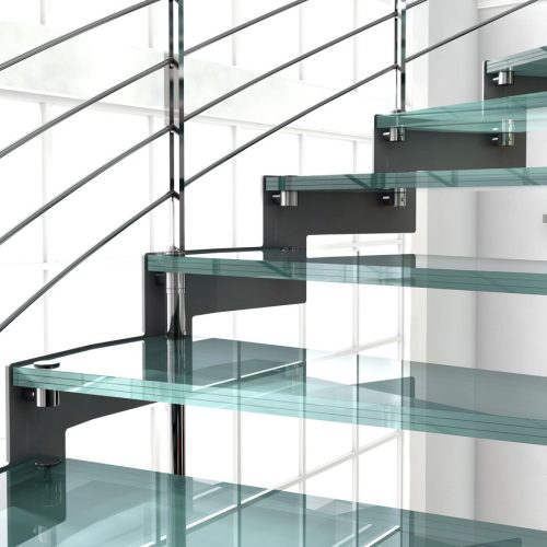 Helical staircase, glass staircase, stainless steel railings, glass steps, stainless steel accessories.
