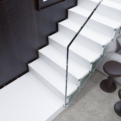 Staircase Jamar Stream, Helical Staircase, Wooden Staircase, Glass Railing.